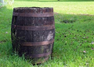 Commerical water storage tanks are made out of all types of materials including wood